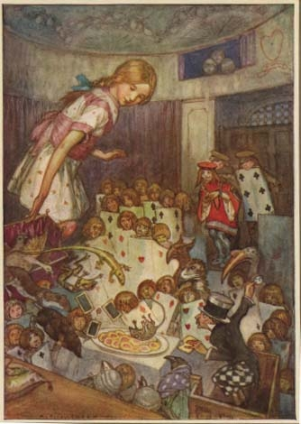Alice in Wonderland Art Print on Vintage Book Page Story Book Upset Jury