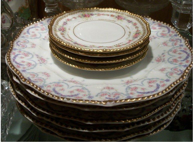 Antique Pink and blue trim Limoges bowls - 3 missing. Antique Pink blue gold \u0026 green trim flat Limoges dessert plates - 2 missing & Colorado Move - Shipping Problems